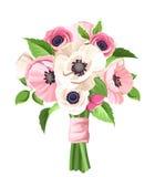 桃红色和白罂粟和银莲花属花束开花 也corel凹道例证向量 免版税库存照片