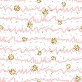 桃红色和白色与金黄淡光圆点的皱纹条纹无缝的样式 库存例证