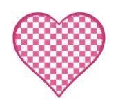 桃红色和白色方格的心脏 免版税图库摄影
