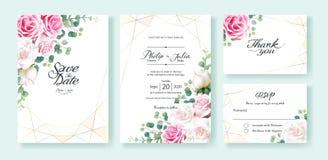 桃红色和白色玫瑰色花婚礼邀请,保存日期,谢谢,rsvp卡片设计模板 ?? ?? 向量例证