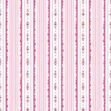 桃红色和白色花卉条纹背景传染媒介无缝的样式 现代经典几何样式 单色花 向量例证