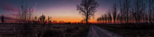 桃红色和紫罗兰色日落 库存图片