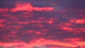 桃红色和紫色卷曲的日落云彩 股票录像