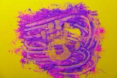 桃红色和紫色油漆和棕榈形状 图库摄影