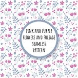 桃红色和紫色花和叶子无缝的样式 皇族释放例证