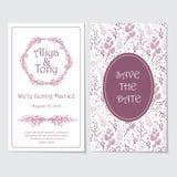 桃红色和紫色花花圈婚礼邀请卡片传染媒介设计模板 库存图片