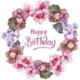 桃红色和紫色gardania 花卉植物的花 框架边界装饰品正方形 免版税库存图片
