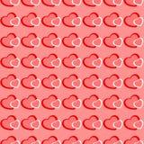 桃红色和红色心脏无缝的华伦泰背景 图库摄影