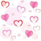 桃红色和红色心脏 库存图片