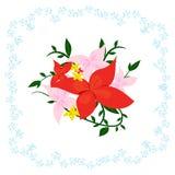 桃红色和红色美丽的庭院 免版税库存图片