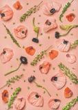 桃红色和红色花瓣、分支和叶子,顶视图 库存照片