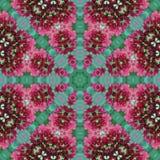 桃红色和绿色花卉几何圈子正方形无缝的样式 免版税库存图片