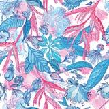桃红色和蓝色传染媒介热带样式 皇族释放例证