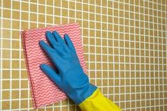 桃红色和蓝色布料 库存图片