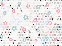 桃红色和蓝色淡色花和小点在白色抽象背景 库存图片