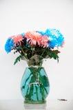 桃红色和蓝色菊花 免版税库存照片
