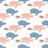 桃红色和蓝色逗人喜爱的孩子乌龟剪影波浪 向量例证