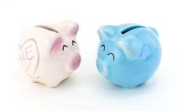 桃红色和蓝色陶瓷存钱罐 免版税库存图片