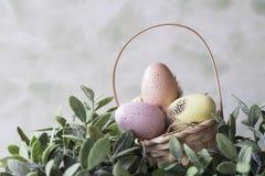 桃红色和黄色复活节彩蛋在柳条筐 文本的空间 库存图片
