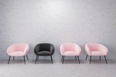 桃红色和黑扶手椅子,空的具体室 向量例证