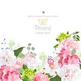 桃红色和绿色八仙花属,上升了,白色牡丹,兰花,康乃馨传染媒介设计卡片 库存例证