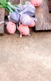 桃红色和紫色塑料复活节彩蛋 库存照片