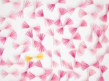 桃红色和黄色弓 库存图片