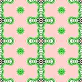 桃红色和绿色geomtrical抽象无缝的样式 库存照片