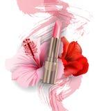 桃红色唇膏和红色热带花木槿 秀丽和化妆用品背景 模板传染媒介 向量例证