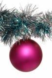桃红色圣诞节树装饰 免版税库存照片