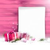 桃红色圣诞节背景 免版税库存照片