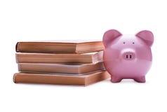桃红色在堆的瓷存钱罐旧书附近 免版税库存图片