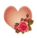 桃红色在工艺心脏的玫瑰花 免版税库存照片