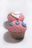 桃红色在白色的乳香树脂甜杯形蛋糕 库存照片