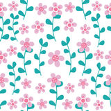 桃红色在白色背景的花和深蓝叶子无缝的样式为织品衣裳背景设计 库存图片