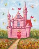 桃红色城堡 免版税库存照片