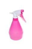 桃红色塑料喷雾器罐头 库存照片