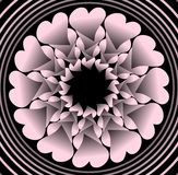 桃红色塑料花喜欢在黑背景在同心圆形状,与3d作用的传染媒介装饰的分数维对象 免版税图库摄影