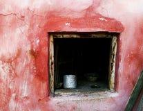 桃红色墙壁视窗 库存照片