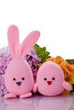 桃红色复活节兔子和小鸡与花 图库摄影