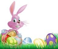 桃红色复活节彩蛋兔宝宝