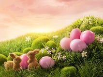 桃红色复活节彩蛋和兔子 库存图片