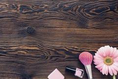 桃红色大丁草,构成刷子,在木背景,顶视图的指甲油 文本的空间 图库摄影