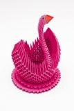 桃红色天鹅鸟, origami艺术 免版税库存图片