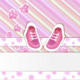 桃红色婴儿送礼会看板卡 库存照片