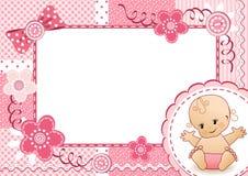 桃红色婴孩框架。 免版税库存图片
