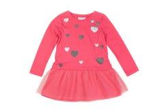 桃红色婴孩礼服 在白色的孤立 免版税图库摄影