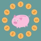 桃红色存钱罐和美元硬币。卡片 免版税库存照片