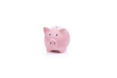 桃红色存钱罐隔绝有白色背景 免版税图库摄影