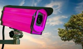 桃红色安全监控相机 免版税库存照片